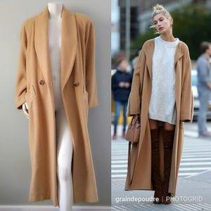 Vtg 💯 Camel Hair Wool Shawl Collar Maxi Coat M